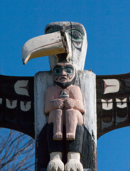 "The totem pole in Centennial Park has its nose out of joint and is in serious need of rhinoplasty on Monday, March 5, 2018, in Livermore, Calif. Artist Adam ""Fortunate Eagle"" Nordwall carved the totem pole, which represents the city's centennial (1968-69). It was dedicated in 1974. Nordwall placed a curse on Livermore's sewer system after city workers cut off a few feet of the pole's 18-foot height during installation. The height of Nordwall's ""desecrated"" artwork was later restored. It is not known why the eagle's beak is askew this time or what it might mean for Livermore's sewer system, as reportedly the curse has never been lifted. The nose was repaired this week. (© 2018 Cindi Christie/Cyanpixel)"